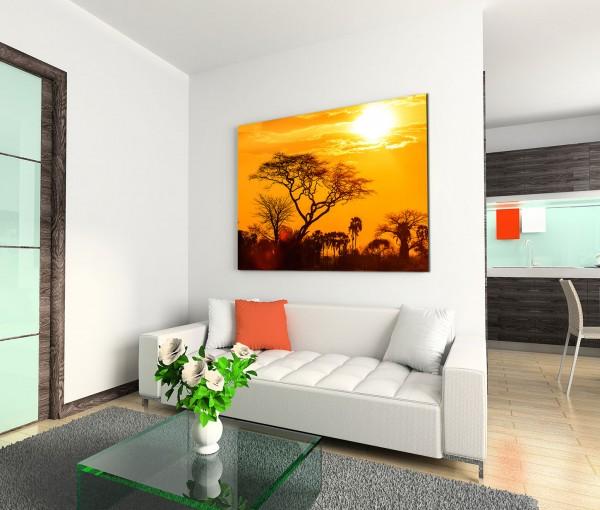 120x80cm Wandbild Afrika Bäume Savanne Sonnenuntergang