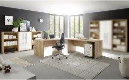 Büro Office Eiche Riviera Honig Hochglanz Weiß 5 teilig I
