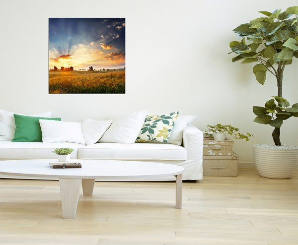 80x80cm Wiese Landschaft Sonne Wolken Licht