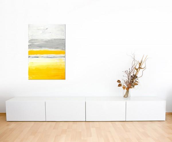 120x80cm Malerei Farben Kunstwerk grau/gelb abstrakt