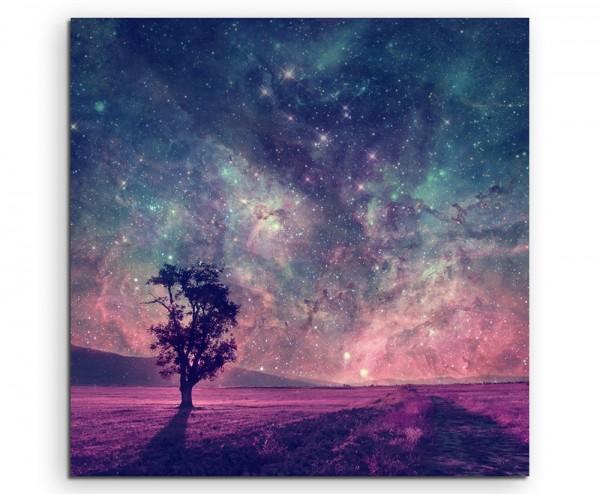 Künstlerische Fotografie – Fantastische Milchstraße mit Baum auf Leinwand