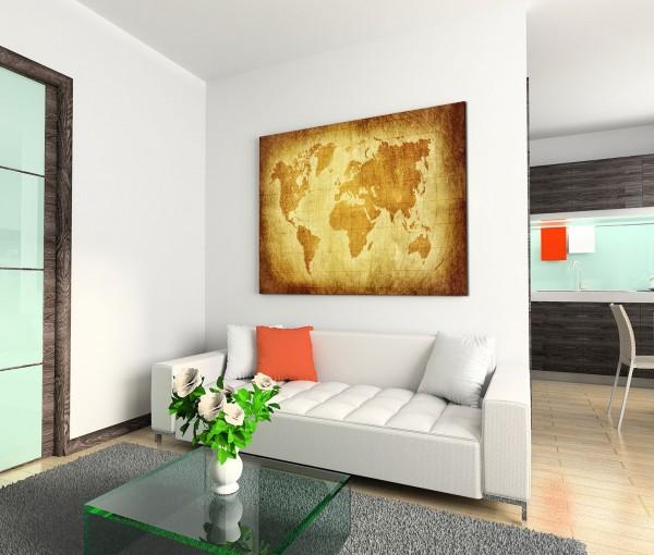 120x80cm Wandbild Weltkarte Breitengrade Längengrade vintage