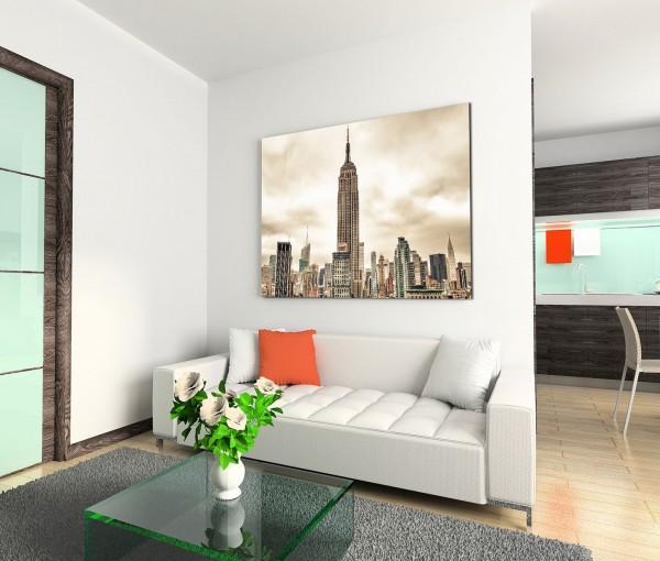 120x80cm Wandbild Manhattan Skyline Wolkenkratzer Wolkenhimmel