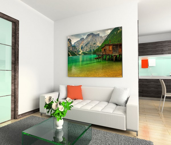 120x80cm Wandbild Italien Südtirol Dolomiten Berge Bergsee Holzhaus