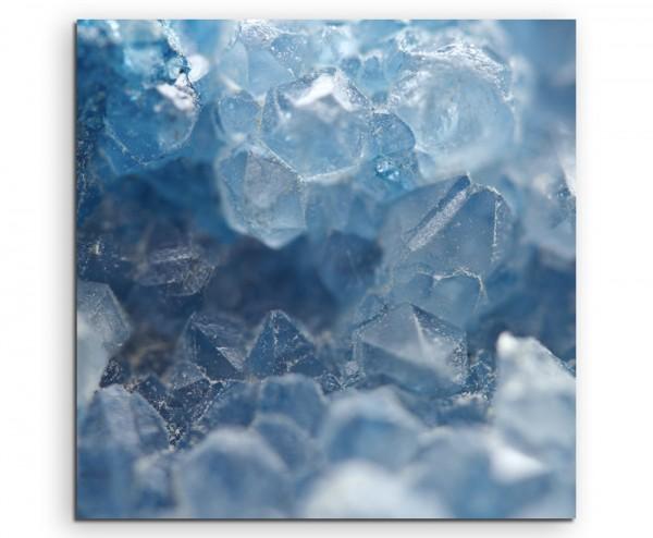 Künstlerische Fotografie – Blaue Quartzkristalle auf Leinwand exklusives Wandbild moderne Fotografie