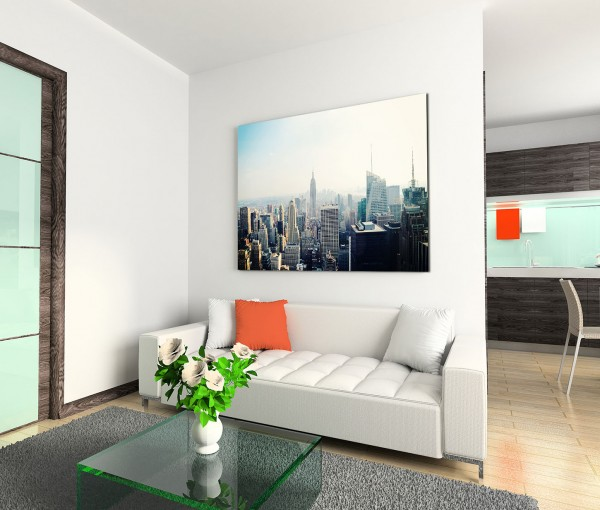 120x80cm Wandbild New York Skyline Empire State Building Nebel