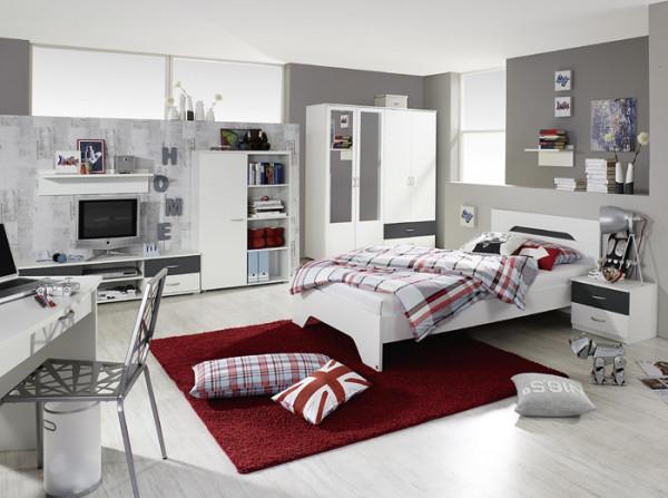 Jugendzimmer Noosa in Weiß- Grau von Rauch Möbel 8 teiliges Megaset mit Schrank, Jugendbett, Schreib
