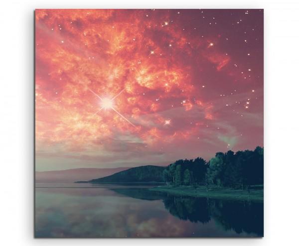 Landschaftsfotografie – Roter Sternenhimmel am See auf Leinwand