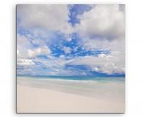 Landschaftsfotografie – Tropischer weißer Strand in Tulum, Mexico auf Leinwand
