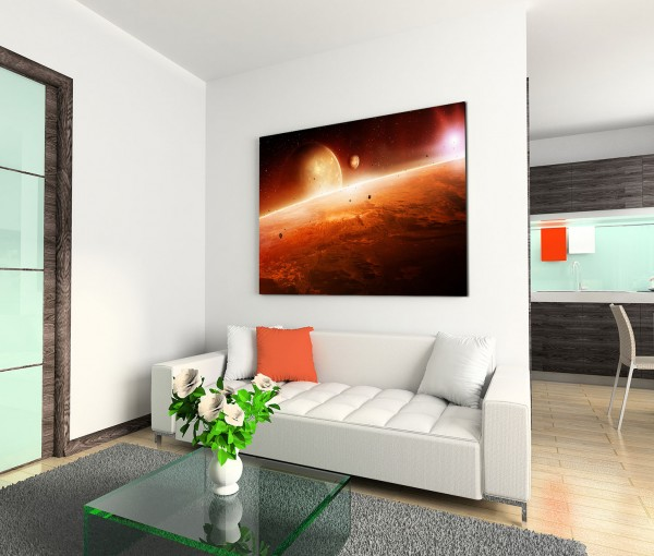 120x80cm Wandbild Planeten Sonnenaufgang Weltall