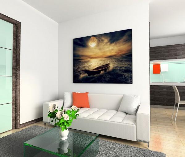 120x80cm Wandbild Ozean Holzboot Wolken Nacht Mond