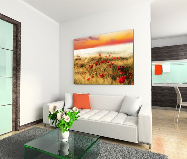 120x80cm Wandbild Mohnblumen Feld Sonne