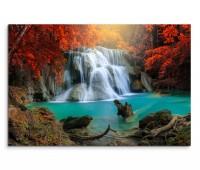 120x80cm Wandbild Thailand Wald Wasserfall Bäume Lagune Natur