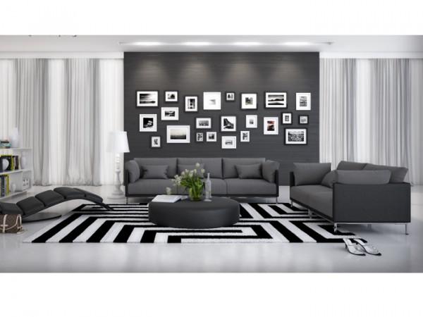 Couchgarnitur Farggi Schwarz von Innocent inklusive Kissen und Tisch aus hochwertigem Kunstleder