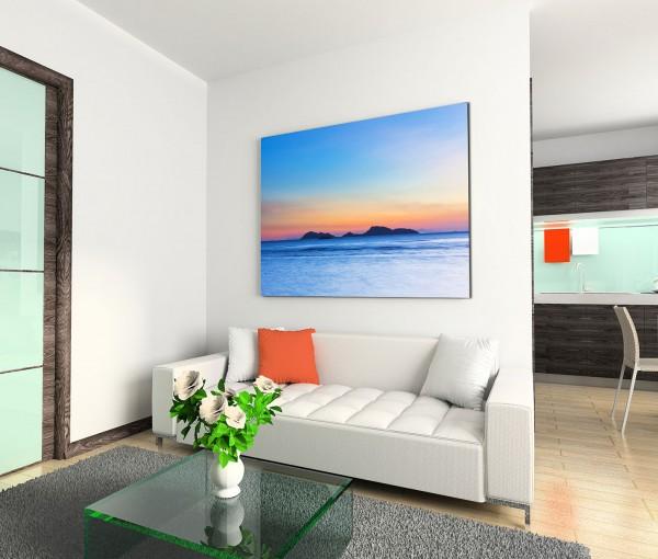 120x80cm Wandbild Insel Meer Abendrot