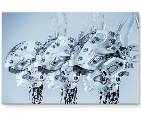 Drei weibliche Roboterköpfe - Leinwandbild