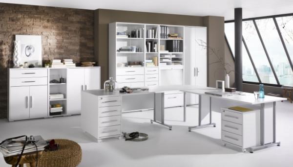 Büro Office System II Icy-Weiß- Weiß 12tlg