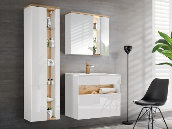 Badezimmer Bahama Weiß 4 teiliges Superset von Comad inklusive Waschbecken und Beleuchtung