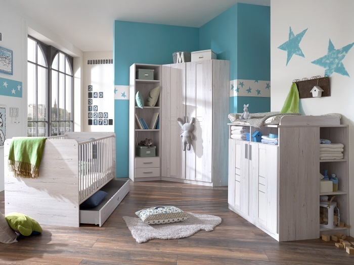 babyzimmer bela 7tlg eckkleiderschrank m bel. Black Bedroom Furniture Sets. Home Design Ideas