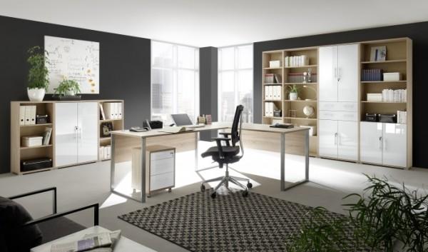 Megaset Büromöbel Office Line Luxo 9 teilig Sonoma- Weißglas